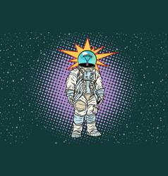 astronaut head light bulb idea vector image