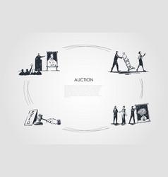 auction - bidding carrying artworks hammering vector image