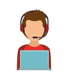 Avatar of a person working on laptop vector image