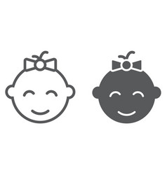 baby girl line and glyph icon kid and child vector image
