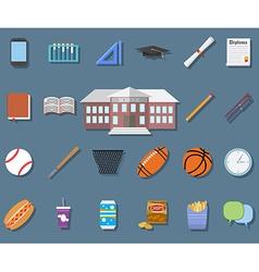Back to School Flat design modern school building vector