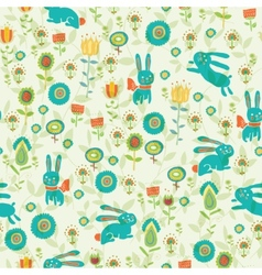 Background with Easter bunnies and eggs vector image