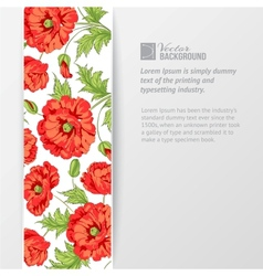 Background with red poppies vector image