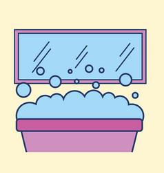 bathtub mirror foam bubbles bathroom vector image