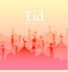 beautiful eid festival background with mosque vector image
