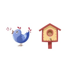 Bird sing song and nesting box vector