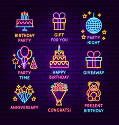 birthday neon label set vector image