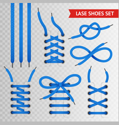 blue lace shoes icon set vector image