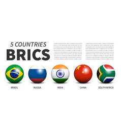 Brics association 5 countries banner 3d vector