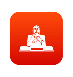 Buddha statue icon digital red vector
