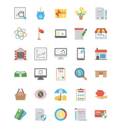 Bundle of startup and new business flat ic vector