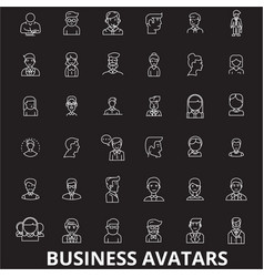 business avatars editable line icons set on vector image