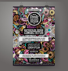 Cartoon hand drawn doodles donuts poster vector