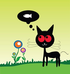 cat dreem fish on the meadow vector image