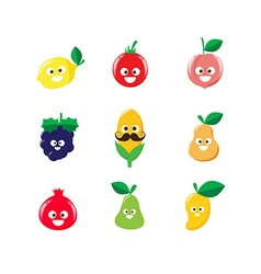 Collection of happy fruit cartoon icon 002 vector