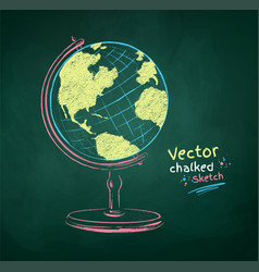 color chalk drawn globe vector image