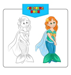 Coloring book mermaid vector