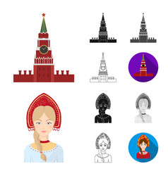 country russia travel cartoonblackflat vector image