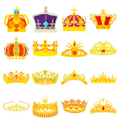 crown royal icons set cartoon style vector image