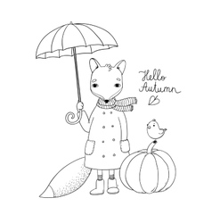 Cute cartoon fox under an umbrella and a small vector