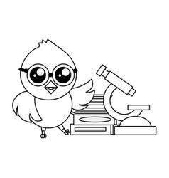 Cute chick science vector