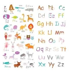 Cute zoo alphabet with cartoon and funny vector