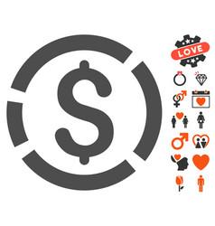 Dollar diagram icon with valentine bonus vector