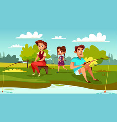 Family fishing cartoon vector