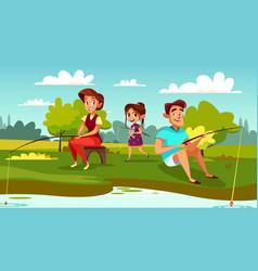 family fishing cartoon vector image