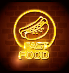 fast food hot dog neon label vector image