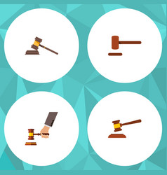 Flat icon lawyer set court hammer defense and vector