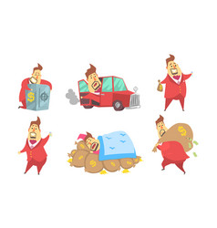 Funny rich millionaire in different situations set vector
