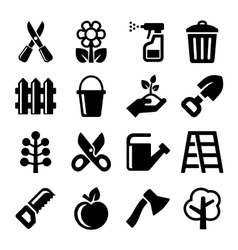 Gardening Icons Set on White Background vector