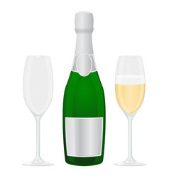 glasses and bottle of champagne vector image
