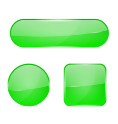 Green glass buttons web 3d shiny icons vector