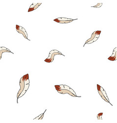 hand drawn seamless pattern bird feathers vector image