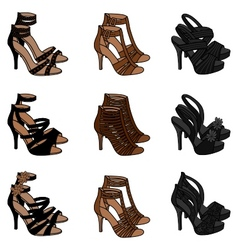 highheeled sandals vector image vector image