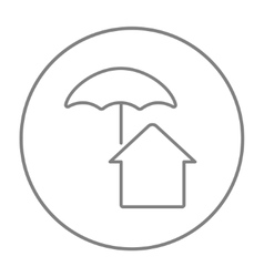 House under umbrella line icon vector image