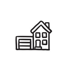 House with garage sketch icon vector