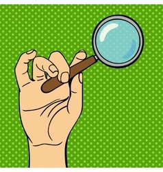 Human hand holding search web loupe vector