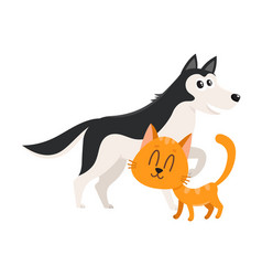 husky dog and red cat kitten characters vector image