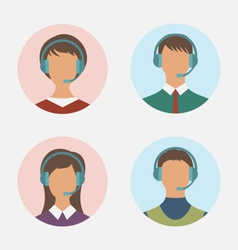 icons of call center operator with man and woman vector image
