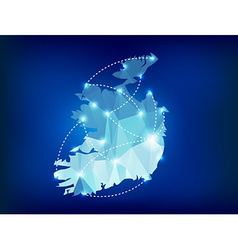 Ireland country map polygonal with spot lights vector