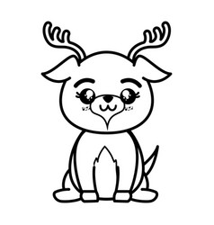 Isolated cute standing deer vector