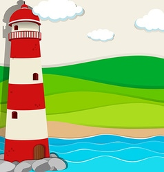 Lighthouse in the ocean vector image