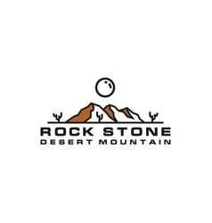 line art desert rock mountain with cactus logo vector image