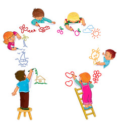 Little boys and girls draw with colored vector