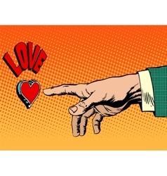 Love romance hand presses button vector