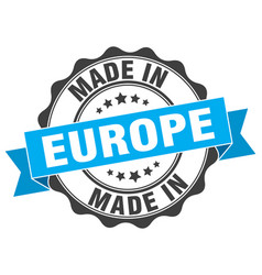 made in europe round seal vector image