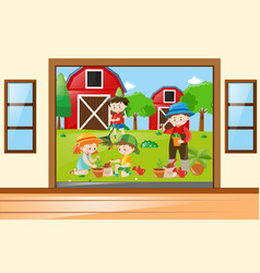 Many children working in the garden vector